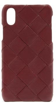 Bottega Veneta Intrecciato Iphone X Leather Phone Case - Burgundy