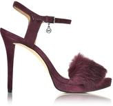 Michael Kors Faye Plum Suede and Fur Sandal