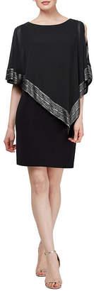 SL Fashions S. L. Fashions Short Sleeve Applique Cape Shift Dress