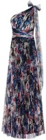 Adrianna Papell Shirred Printed Tulle Gown