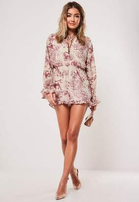Missguided Pink Printed Tie Detail Frill Short Romper