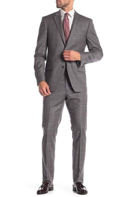 Tommy Hilfiger Grey Orange Windowpane Two Button Notch Lapel Wool Classic Fit Suit