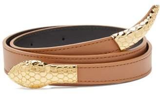 Altuzarra Snake-buckle Leather Belt - Womens - Tan Gold