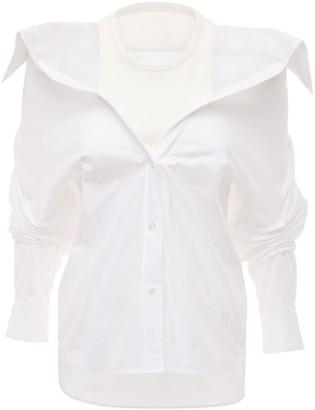 Alexander Wang Off-the-shoulder Cotton Poplin Shirt