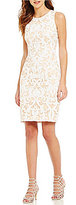 Vince Camuto Jewel Neck Sleeveless Sequin Tapestry Sheath Dress