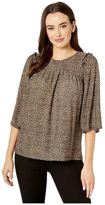 MICHAEL Michael Kors Cheetah Ruffle Shoulder Blouse (Dark Camel) Women's Clothing