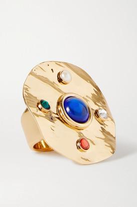 Dries Van Noten Gold-tone Multi-stone Ring - Blue