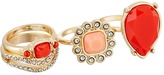 GUESS 4 Piece Faux Coral Stack Ring Set
