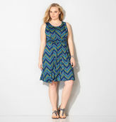 Avenue Chevron Seamed Fit and Flare Dress