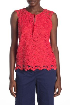 Laundry by Shelli Segal Floral Venise Lace Keyhole Top