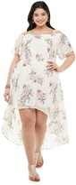 Juniors' Plus Size Lily Rose Off-The-Shoulder High Low Dress