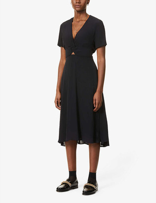 Sessun Anabella twist-knot crepe midi dress