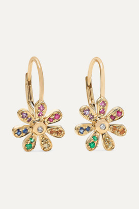 Sydney Evan Daisy 14-karat Gold Sapphire Earrings - one size