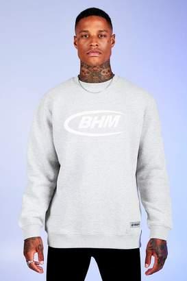 boohoo Deno Driz Loose Fit Sweater With BHM Print
