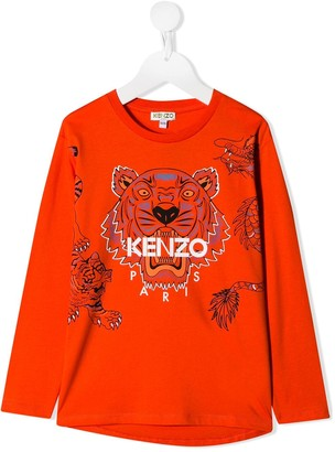 Kenzo Kids Logo Tiger Print Top
