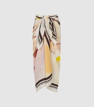 Reiss Anika - Silk Blend Printed Sarong in Multi