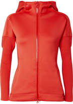 adidas by Stella McCartney Z.n.e. Ribbed Knit-paneled Stretch-jersey Hooded Top - Tomato red