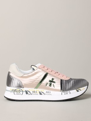 Premiata Conny Sneakers In Bicolor Leather And Satin