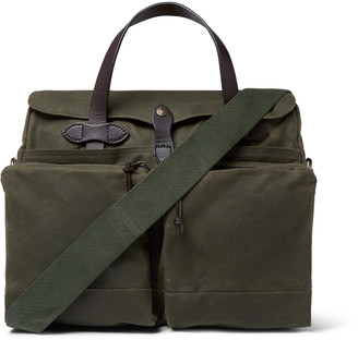 Filson 24-Hour Leather-Trimmed Coated-Canvas Briefcase - Men - Green