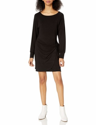 Cupcakes And Cashmere Women's etta French Terry Raglan Dress with Faux wrap tie