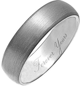 Theia Titanium, Matted, Engraved 'Forever Yours' - 6mm Ring - Size V