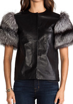 MAX FOWLES Silver Fox Fur Sleeve Top