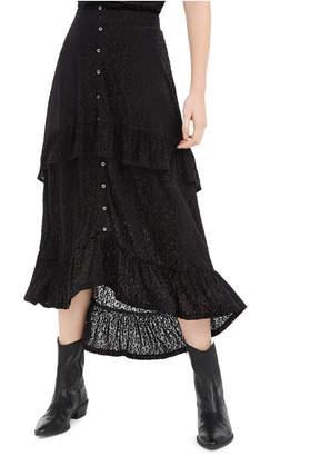 American Rag Juniors' Ruffle-Trimmed Burnout Velvet Skirt