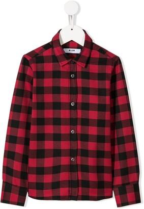 Msgm Kids Long-Sleeve Check Shirt