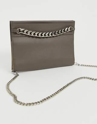 BCBGMAXAZRIA leather convertible purse on a chain-Grey