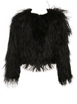 Miss Selfridge Black Ostrich Feather Jacket**