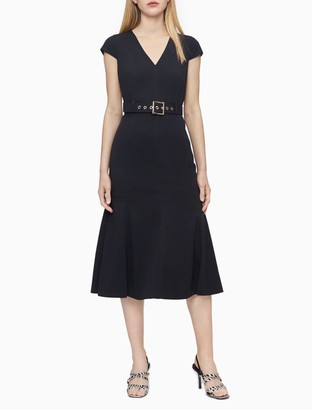 Calvin Klein Solid V-Neck Cap Sleeve Belted Dress
