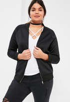 Missguided Plus Size Black Scuba Bomber Jacket