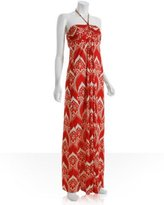 Tbags orange jersey paisley printed halter maxi dress
