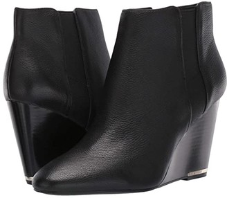 Kenneth Cole New York Merrick Wedge Bootie (Black Leather) Women's Shoes
