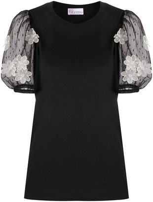 RED Valentino Butterfly Applique Tulle Sleeve Blouse