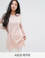 Asos Top In Textured Rib With Long Sleeves and Side Splits
