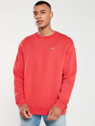 Tommy Jeans Washed Crew Neck Sweatshirt - Red