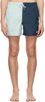 Bather Blue and Navy Nylon Swim Shorts