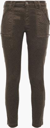 Joie Park Cropped Leopard-print Cotton-blend Twill Skinny Pants