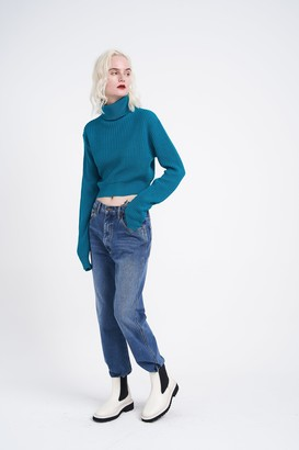 Glamorous Womens **Blue Cropped Knitted Jumper By Blue