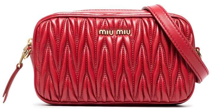 Miu Miu red matelassé leather belt bag
