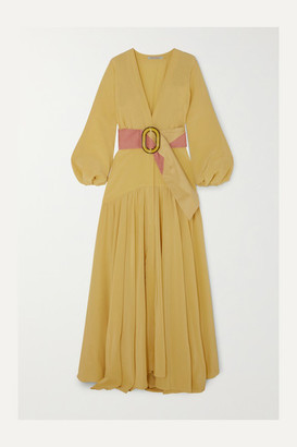 Silvia Tcherassi Felicity Belted Silk Crepe De Chine Maxi Dress - Yellow