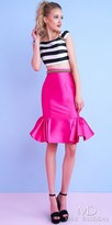 Mac Duggal Two Piece Cap Sleeve Color Pop Striped Cocktail Dress