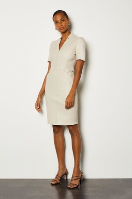 Karen Millen Stretch Leather Tailored Dress