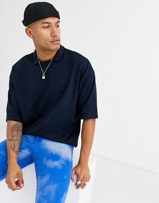 Asos Design DESIGN organic oversized heavyweight t-shirt with polo collar in navy