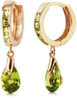 Overstock 3.9 Carat 14K Solid Rose Gold Huggie Earrings Dangling Peridot