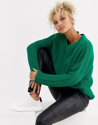 Blend She Summi cable knit jumper-Green