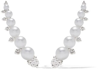 18kt White Gold Diamonds & Pearls Ear Pins