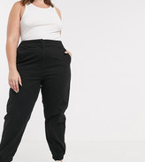 Asos DESIGN Curve high waist chino with jogger hem in black