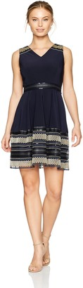 Tahari by Arthur S. Levine Women's Petite Sleeveless Fit and Flare Dress with Detailed Hem